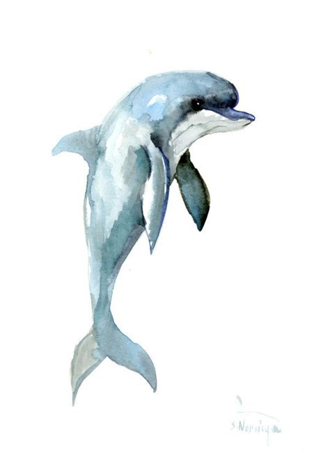 Dolphin, 12 x 9 in, original watercolor painting 12 X 9 in