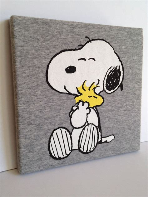 T-shirt Canvas Wall Art Snoopy & Woodstock Peanuts OOAK