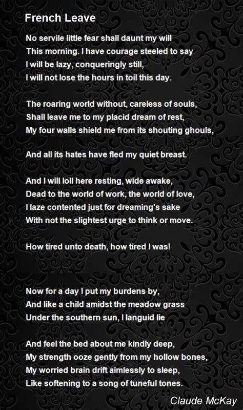 French Leave Poem by Claude McKay - Poem Hunter